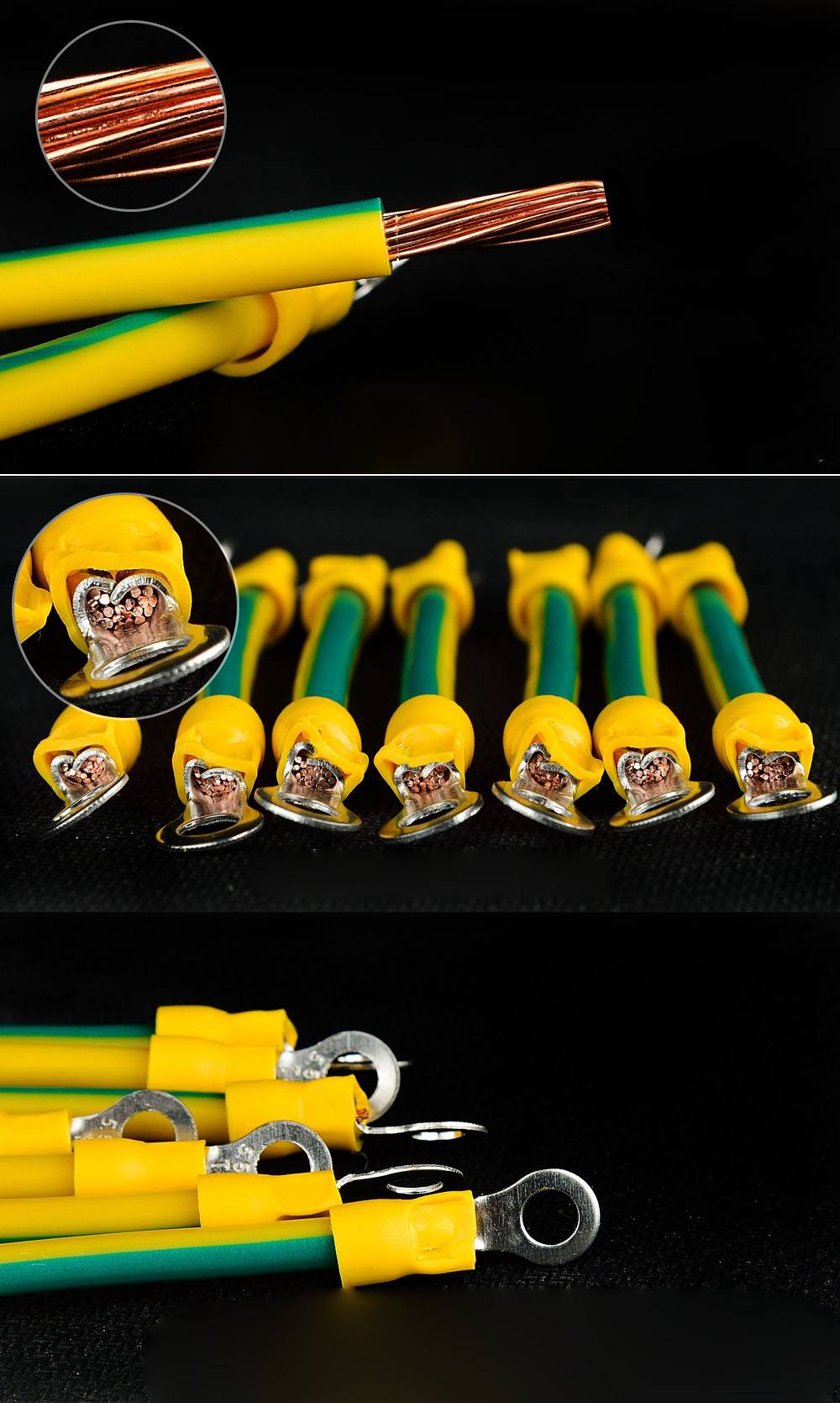 yellow green ground cable
